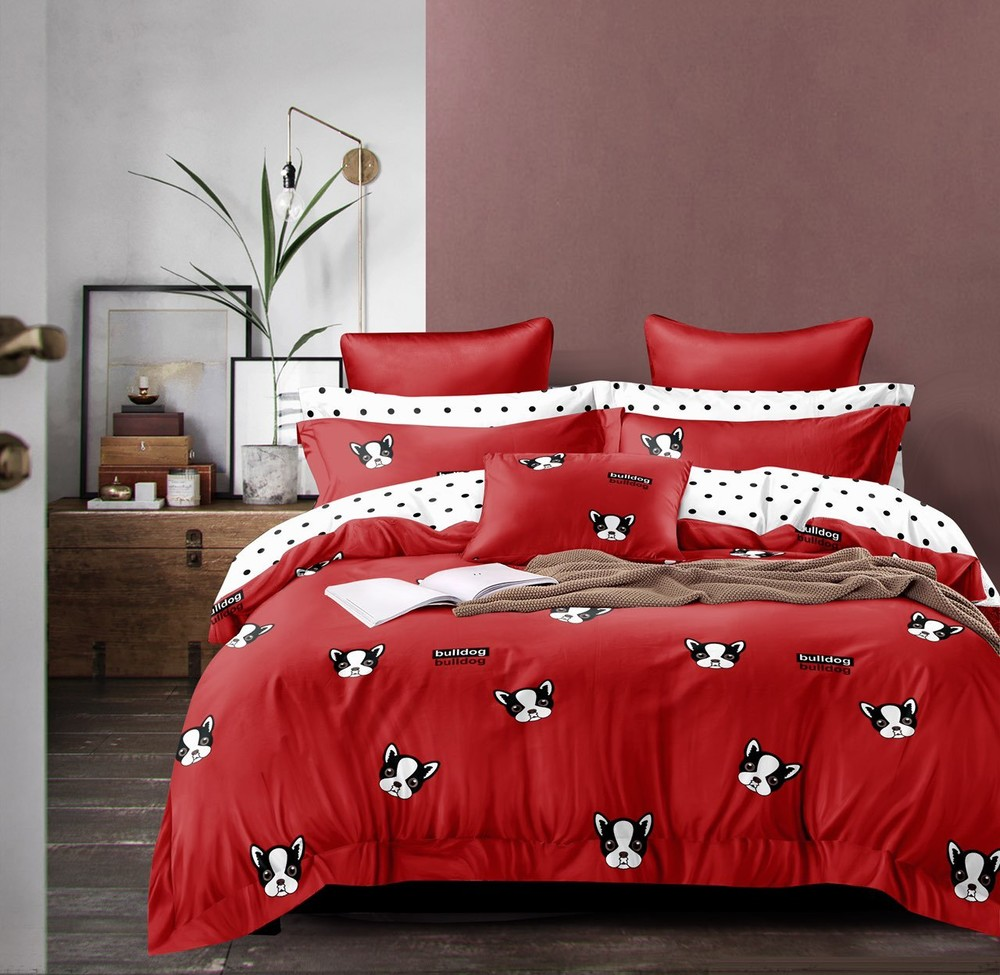 Levně Bavlněné povlečení BULLDOG 140x200cm - 140 x 200 cm - 7 SET 2x polštář 2x malý polštář 2x přikrívka 1x prosteradlo - Červená