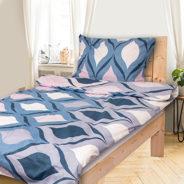 Levně KIMA modré - 140x200cm bavlněné povlečení - 140 x 200 cm - 1 x polštář 1 x přikrývka - Modrá