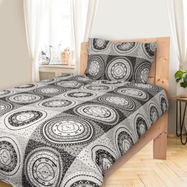 LEA šedé - 140x200cm bavlněné povlečení - 140 x 200 cm - 1 x polštář 1 x přikrývka - Šedá