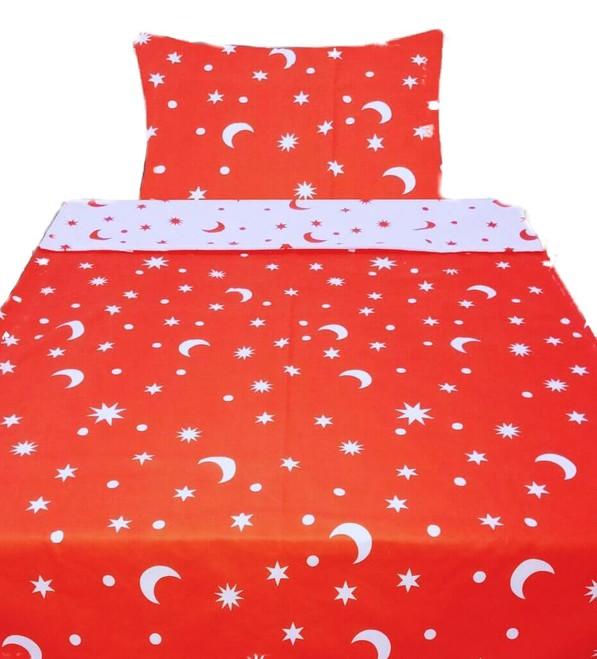 MĚSÍC červené - 140x200cm Bavlněné povlečení - 1 x polštář 1 x přikrývka - Červená