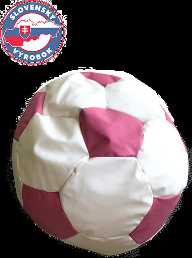 Fotbalový míč velký  - sedací pytel ružovo bíly