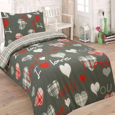 LOVE YOU šedá - 140x200cm bavlněné povlečení