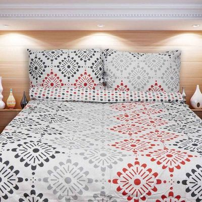 MADRID šedá červená - 140x200cm bavlněné povlečení