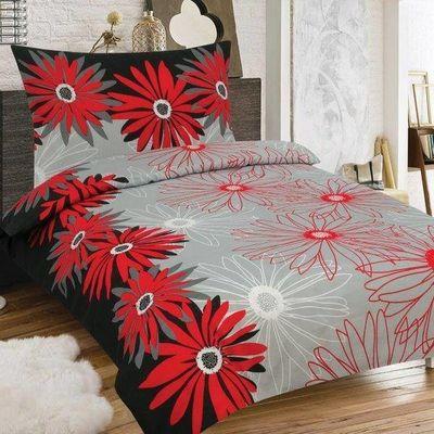 MARGARÉTA červená a černá bavlněné povlečení 140 x 200