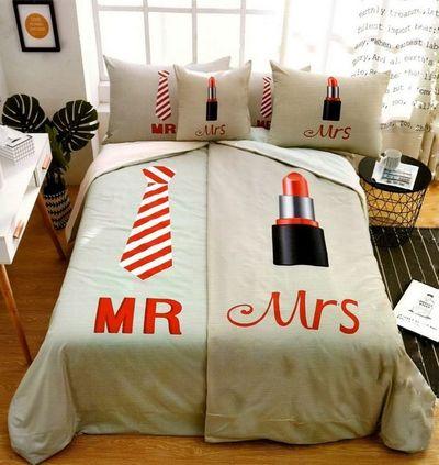 Mr.+Mrs 140x200cm 6 SET 3D povlečení cappuccino