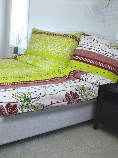 NARONA zelená - 140x200cm bavlněné povlečení