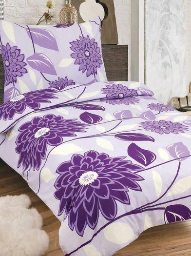 RENATA bavlněné povlečení 140x200cm se zipem fialová