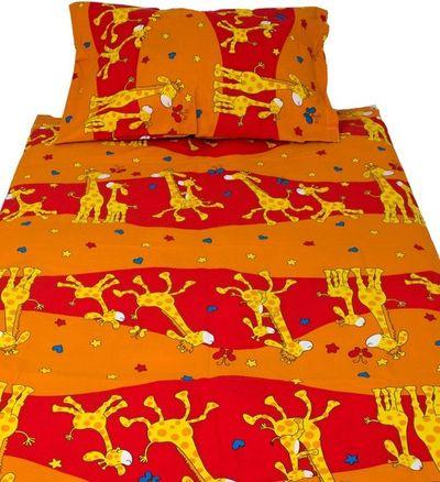 ŽIRAFKA dětské bavlněné povlečení 90x135cm oranžové
